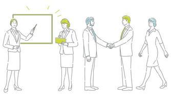 vector zakenmensen in actie set geïsoleerd op een witte background
