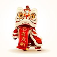 Chinese New Year Lion Dance with scroll vector