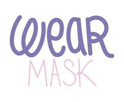 leuke sticker over het dragen van maskerbelettering vector