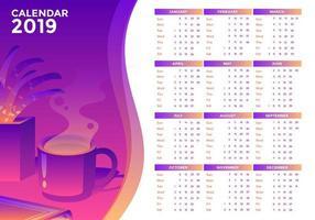 Printable 2019 Office Calendar Vector