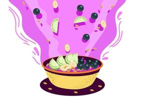 Color Acai Bowl vector