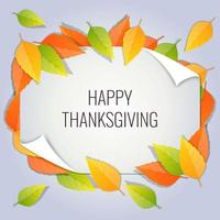 Beautiful Happy Thanksgiving Paper Cut Leaves Background Illustration vector