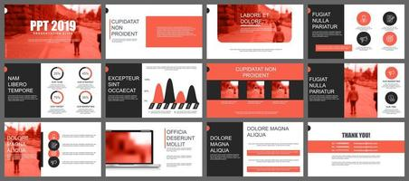 Coral and black business presentation slides templates  vector