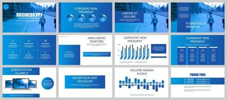 Blue Business Presentation Slide Templates vector