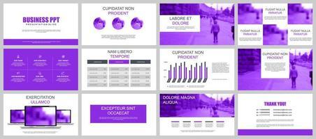 Purple Business Presentation Slide Templates vector