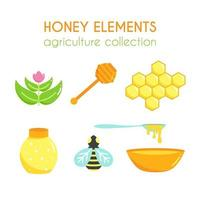Vector honey illustration set. Flat argiculture collection.