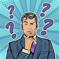 Businessman skeptical facial expression with question marks upon his head