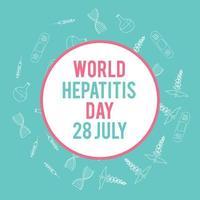 World hepatitis day. Hand drawn medical illustration. Pharmacy vector background.
