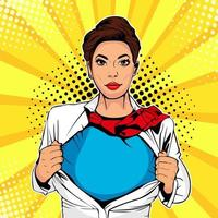 Pop art female superhero vector