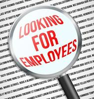 Magnifier glass over Looking for employees text, graphic illustratin vector