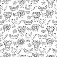 Cactus seamless pattern illustration vector