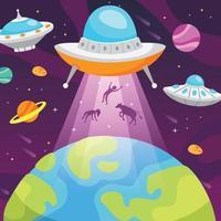ufo ontvoert mens van de aarde vector