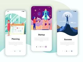 Set of onboarding screens user interface kit for Planning