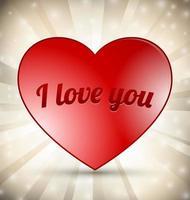 Red Heart on Sunburst Background, graphic illustratin vector
