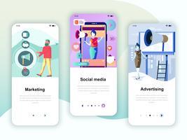 Set onboarding schermen gebruikersinterfacekit voor marketing