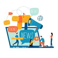 E-mailnieuws, abonnement, ontwerp van de promotie het vlakke vectorillustratie