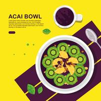 Kleur Acai Bowl Vector