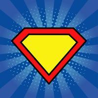 Superheld logo sjabloon op heldere blauwe achtergrond met pop-art