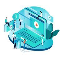 Modern isometrisch concept voor video marketing campagne