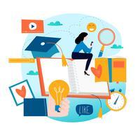 Onderwijs, online opleidingscursussen, vlakke vectorillustratie van het afstandsonderwijs