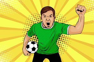 Jonge gelukkige pop-artstijl van de voetbalventilator vector