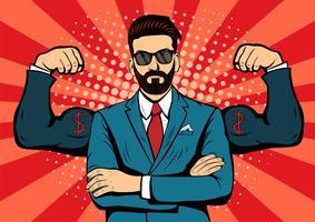 Hipster baard zakenman met spieren popart retro stijl