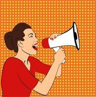 Pop art meisje met een megafoon vector