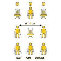 hou afstand. ga hier niet zitten. verboden pictogram voor stoel. 6 voet of 2 meter sociale afstand voor stoelzitting. lockdown regel. houd afstand als u zit. man op de stoel vector