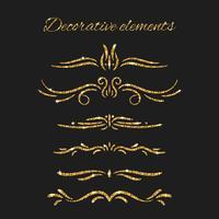 Glanzende decoratieve handgetekende randen met glittereffect vector