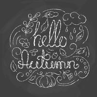 Hallo herfstkaart met letters.