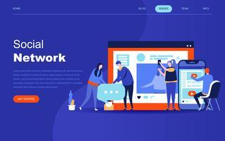Modern plat ontwerpconcept van sociaal netwerk vector