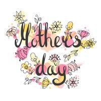 Moedersdag belettering kaart vector