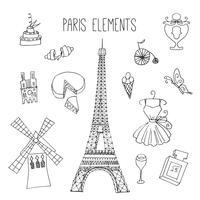 Parijs thema Doodle elementen vector
