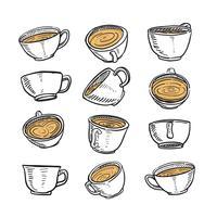 Hand getrokken schets van een kopje koffie in elke positie