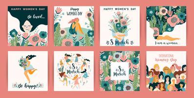 Internationale Vrouwendag. Vector sjablonen met schattige vrouwen.