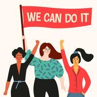 Internationale Vrouwendag. Vectorillustratie met vrouwen verschillende nationaliteiten en culturen.