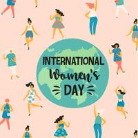 Internationale Vrouwendag. Vectorillustratie met dansende vrouwen. vector