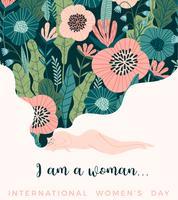 Internationale Vrouwendag. Vectormalplaatje met leuke vrouw.