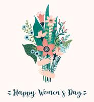 Internationale Vrouwendag. Vectormalplaatje met boeket van bloemen.