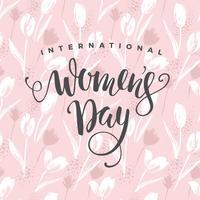 Internationale Vrouwendag. Vectormalplaatje met bloemen en het van letters voorzien