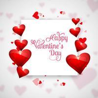 Valentijnsdag kaart met harten achtergrond vector