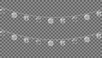 kerstversiering, slingers met ballen geïsoleerd op transparante achtergrond. vector illustratie