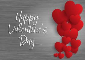 De dagachtergrond van de valentijnskaart met harten op hout