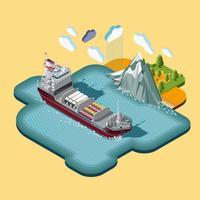 Isometrische scheepvaart maritiem transport logistiek kaart vector