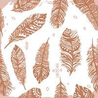 Uitstekend naadloos veren etnisch patroon, stammenontwerp, tatoegering vector
