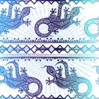 Vector uitstekende naadloze etnische patroonafbeelding hagedissen en lijnen