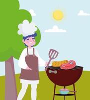 chef barbecue picknick vector