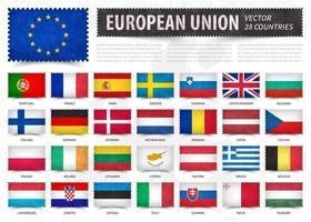 Europeese Unie . EU . en lidmaatschap land vlag. stempel vorm met grunge papier textuur. witte geïsoleerde achtergrond met europa kaart. elementenvector. vector