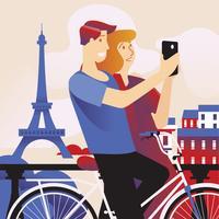Gelukkige paar Selfie door slimme telefoon in Parijs met de Eiffeltoren