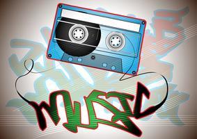 Oldschool-cassette met graffiti vector